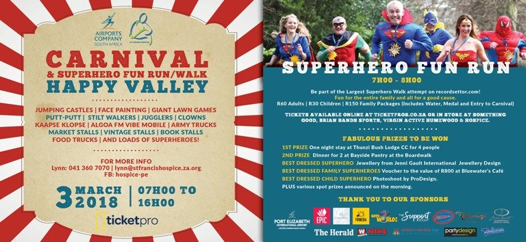 ACSA CARNIVAL & SUPERHERO FUN RUN/ WALK – IN AID OF HOSPICE