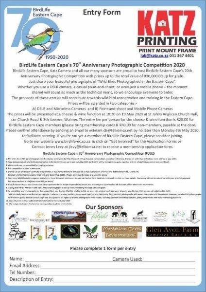BirdLife Eastern Cape's 70th Anniversary Photographic Competition 2020