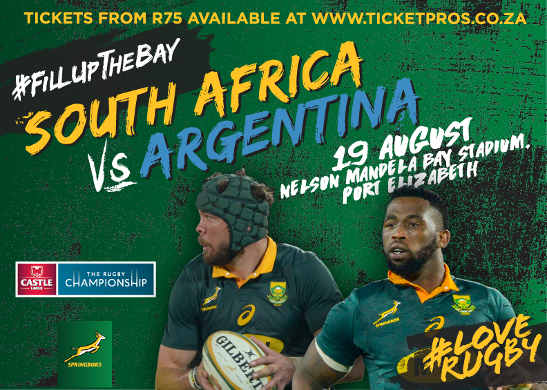 Give away: 5 sets of South Africa vs. Argentina Rugby Tickets up for grabs