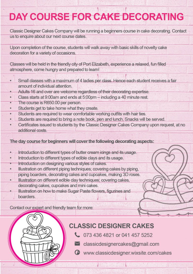 Day Course for Beginners in Cake Decorating